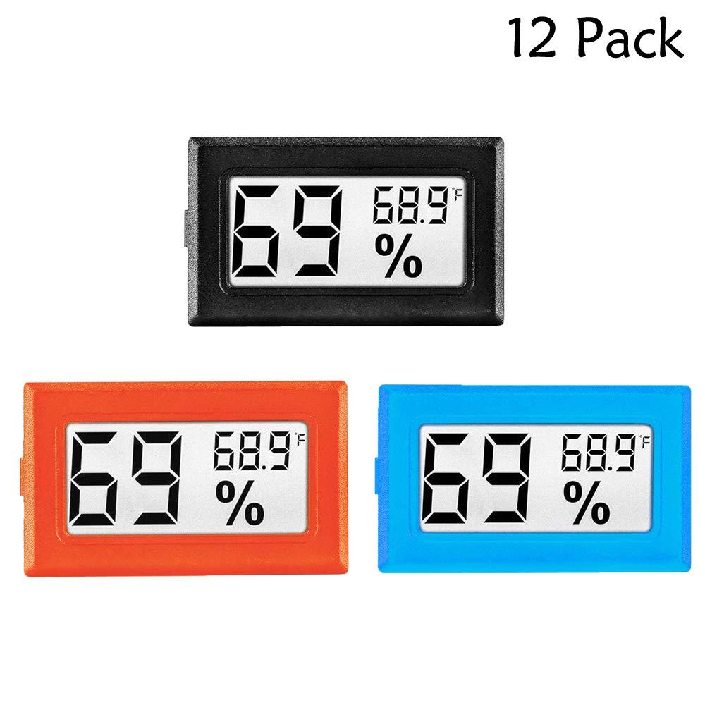 LinkDm 12 Pack Mini Digital Electronic Temperature Humidity Meters Gauge Indoor Thermometer Hygrometer LCD Display Fahrenheit (℉) for Humidors, Greenhouse, Garden, Cellar, Fridge, Closet by LinkDm