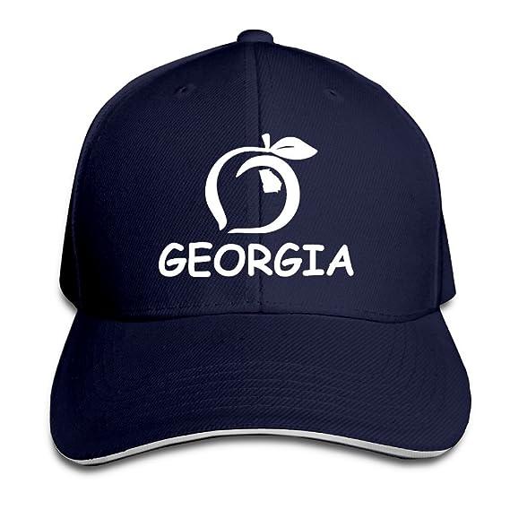 d7f9ed70e9021 Georgia Peach Logo State Gift Pride White Golf Sandwich Cap Baseball ...