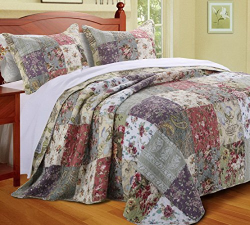 Country Cottage Floral Oversized Quilt Bedspread Set with Shams Print Patchwork Pattern Bedding Yellow Blue Green Luxury 100 Cotton Reversible Single Twin Size - Includes Bed Sheet Straps by Finely Stitched
