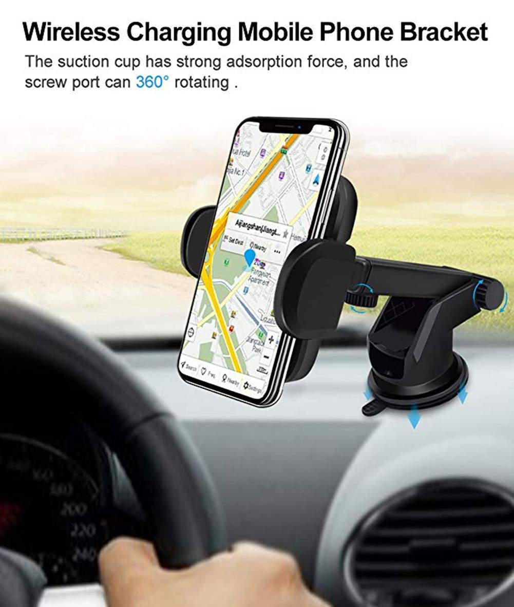 Wireless Car Charger Mount,Infrared Sensing Automatic Induction Adjustable 10W Fast Charger Air Vent Phone Holder with Qi Certified