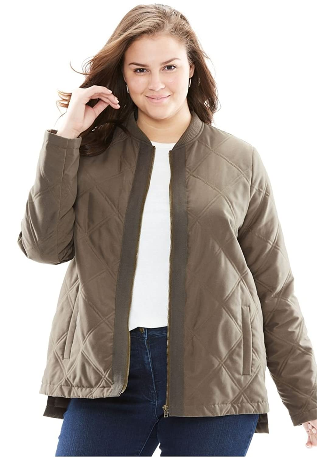cc6d9364ab0f0 Woman Within Women s Plus Size The Laid Back Bomber Jacket ...