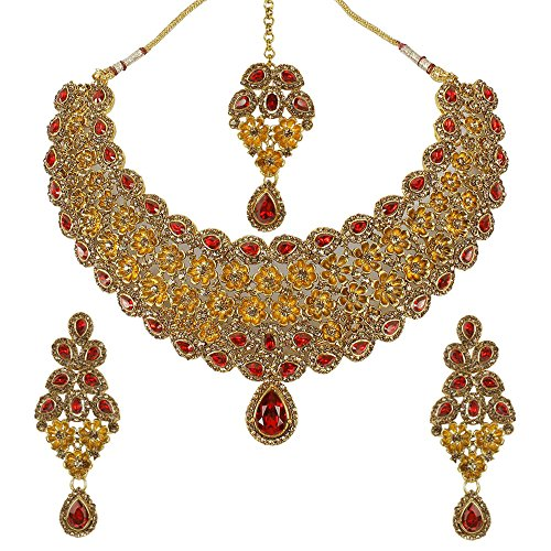 - MUCH-MORE Indian Gorgeous Traditional Gold Tone Necklace Earrings with Maag Tikka Jewelry for Women