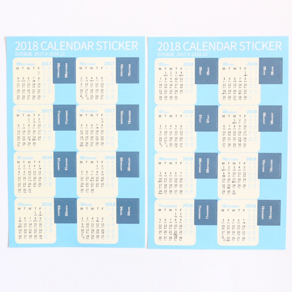 Office School 2018 Calendar Decorative Student Stickers Index Dividers, Self Adhesive Tabs, 16-Month from September 2017 to December 2018,2Sets(32 Tabs) for Diary Planner Notebooks,Blue Color