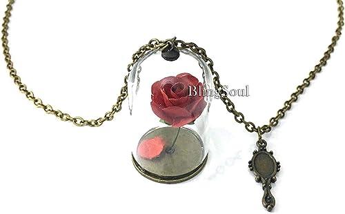 2017 la Bella y la Bestia Bell Princesa Rose-Tree Colgante Collar Regalo