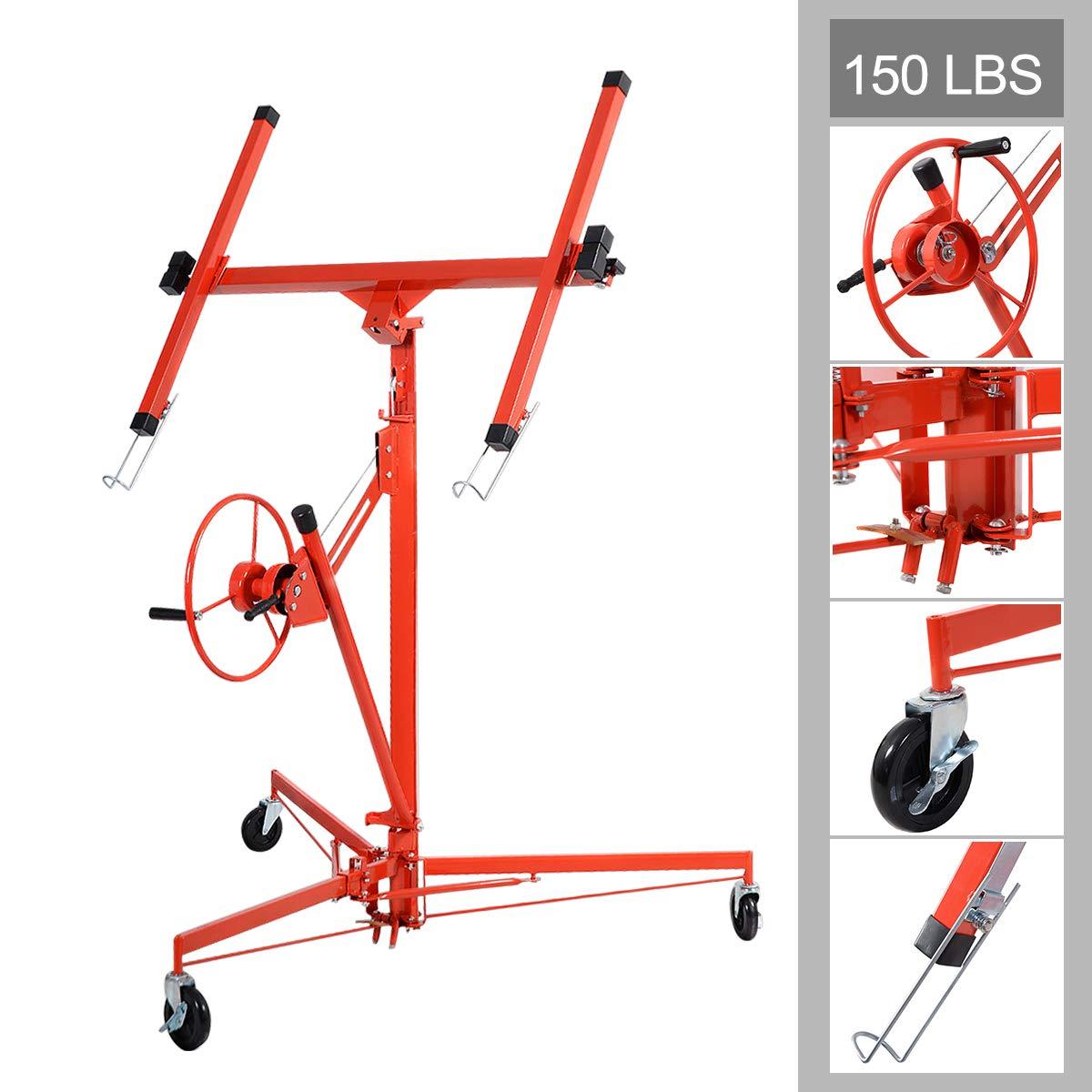 Goplus 11' Drywall Lift Panel List Hoist Jack Lifter Construction Tools Lockable w/Caster Wheel, Red