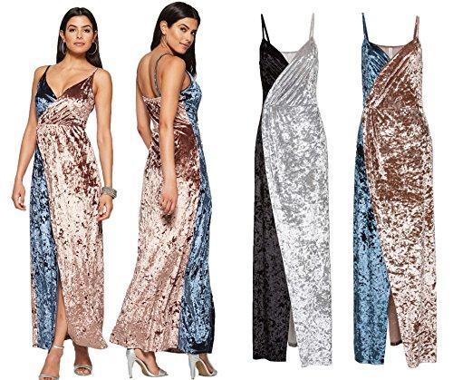 ... Bestfort Kleid Damen Lang Elegante Zweifarbig Brautkleider Festliche  Kleider Schöne Abendkleider Ärmellos Schlinge Rückenfreies Samt Lose ... 6d6f608e1e