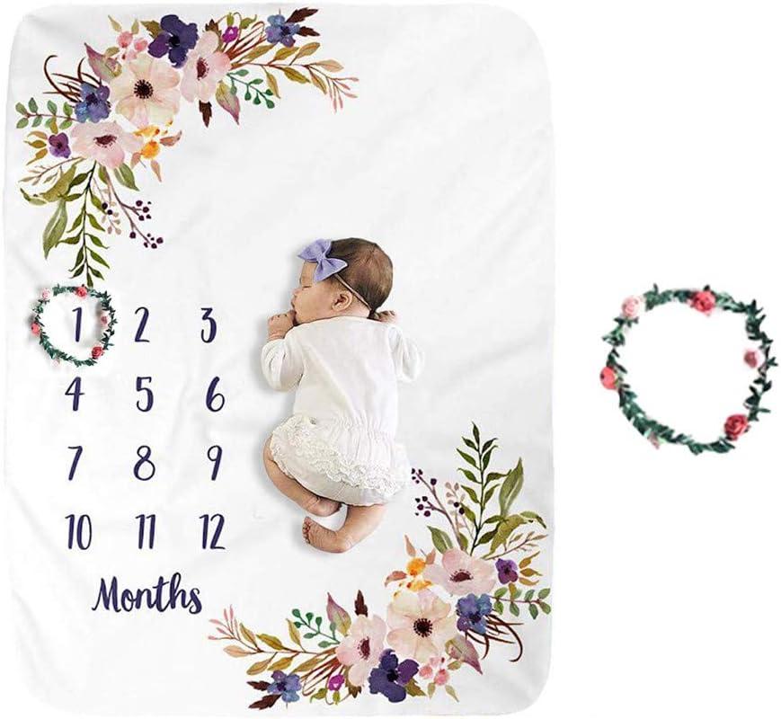 kinnter - Manta para bebé mensual, para niños y niñas, para fotografía de bebé, prémium, extra suave, manta de forro polar para recién nacidos, manta mensual para imágenes de bebé (rosa y morado)