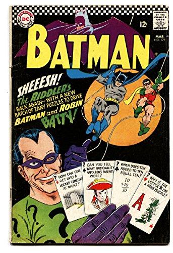 Riddler Cover - Batman #179 comic book-1966-dc-the Riddler cover vg