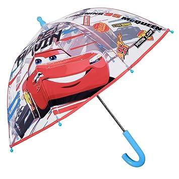 Paraguas Transparente Cars - Paraguas Infantil Niño Disney Pixar - Cupula Estampado Rayo Mcqueen - Resistente Seguro Antiviento Fibra Vidrio - Manual ...