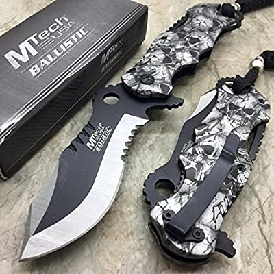 M-TECH CRACK Grey Skull Stainless Steel Tactical Camping Hunting Pocket Knife