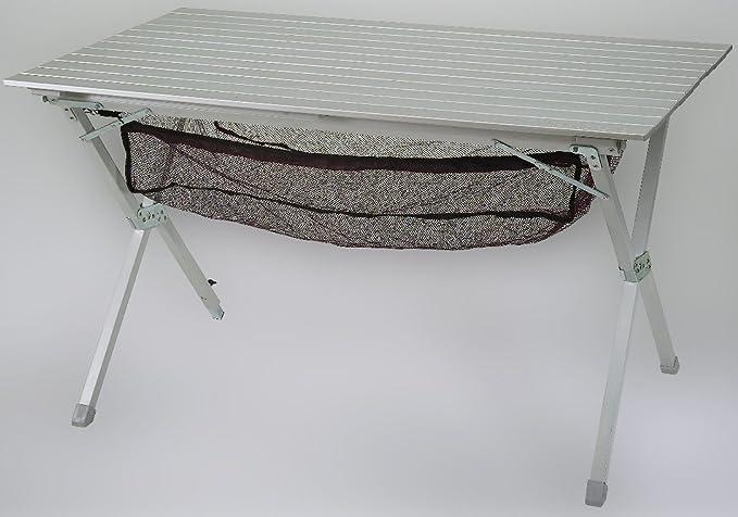 bel-sol BELSOL Aluminium Rolltisch Campingtisch silver 119 x 70 x 70