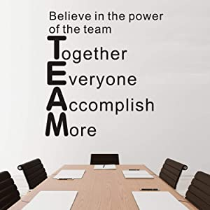 "VODOE Quote Wall Decals, Office Wall Decal, Inspirational Teamwork Classroom Motivational Art Decor Vinyl Stickers Believe in The Power of The Team Together Everyone Accomplish More 16"" x 17"""