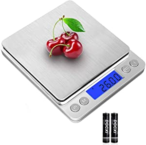 THINKSCALE Digital Food Scale,3000g/0.1g Digital Scale,Gram Scale with 2 Trays for Cooking and Baking,Coffee Scale with Back-Lit LCD Display 6 Units, Auto Off, Tare, PCS, Stainless Steel