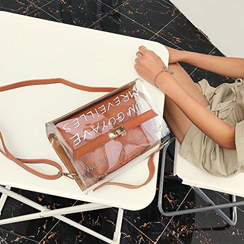 D'été Bleu Pour 45x3 94x6 Bandoulière Sac Sacs Fourre brown 69 tout Transparent 24x10x17cm En Handbag À Pvc Marron Femme 9 Landum Pdgw6P