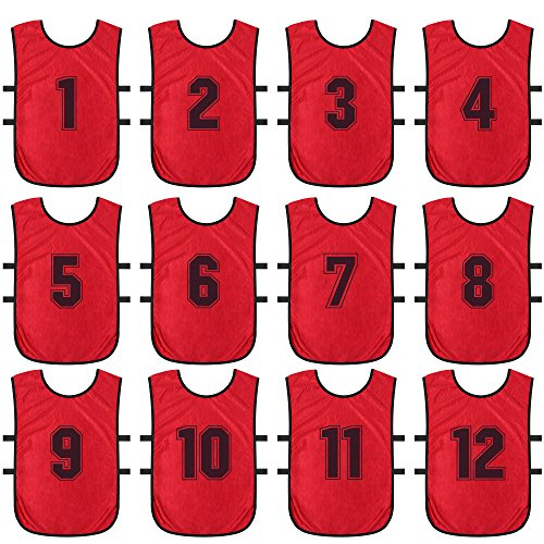 ToySharing Pinnies Comfortable Youth Pinneys Easy Distinguishing Scrimmage Vests Ventilate Team Practice Jersey for Adults Soccer Basketball Sport Small Red ()
