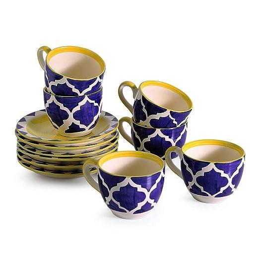 Odishabazaar taza de té con platillo, juego de 12 (6 tazas de té y ...