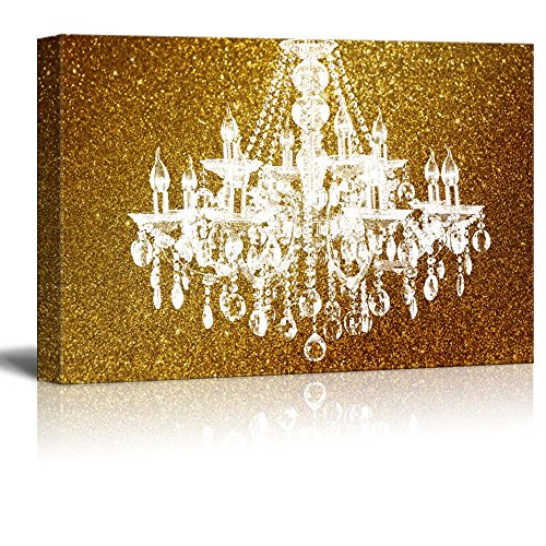 wall26 Canvas Wll Art - Crystal Chandelier on Glittering Golden Background - Giclee Print and Stretched Ready to Hang - 24