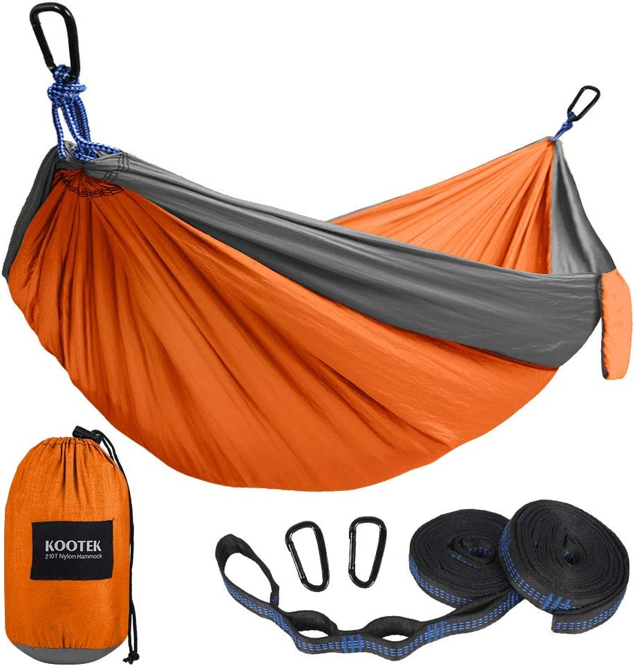 Backyard Lightweight Nylon Parachute Hammocks for Backpacking Beach Hiking Grey//Orange, S Kootek Camping Hammock Portable Indoor Outdoor Tree Hammock with 2 Hanging Straps Travel