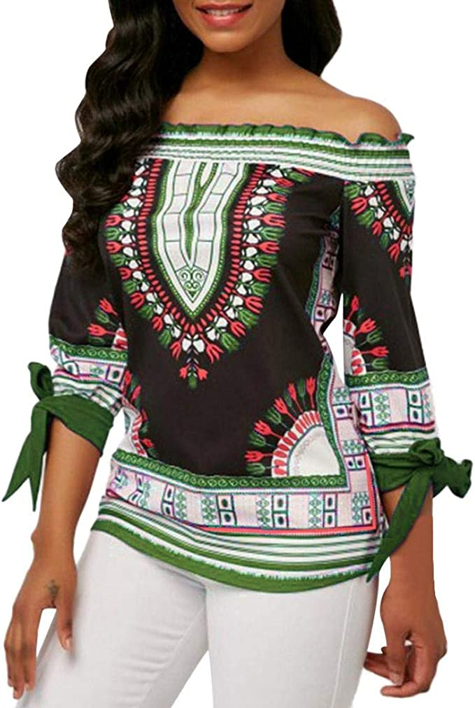 Overdose Tops Moda para Mujer Off The Shoulder Tie Sleeve Camiseta ...