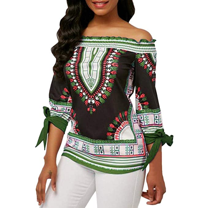Overdose Tops Moda para Mujer Off The Shoulder Tie Sleeve Camiseta Estampada Club Wear Camiseta Top