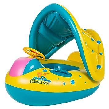 SZHTSWU Flotador para 2-16 Meses Bebé Barco Inflable Flotador con Asiento Respaldo Techo Ajustable: Amazon.es: Juguetes y juegos