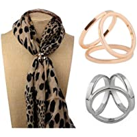 2PCS Women Lady Girls Simple Fashion Three Rings Scarves Buckle Scarf Clip Scarf Ring Wrap Holder Clamp Silk Sarf Clasp…