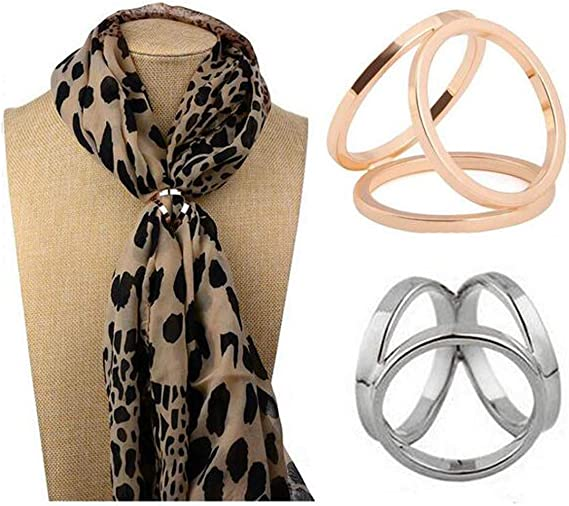 Buttons FEIlei 10Pcs Elegant Leather Scarf Buckle Silk Ring Clip Holder for Women Ladies Gifts