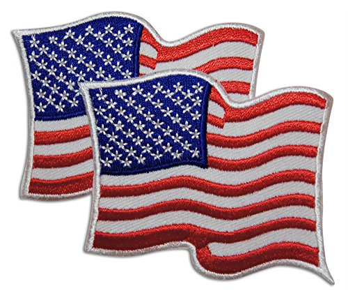 2-Piece Waving American Flag Patch Sew or Iron On by Novel Merk ()