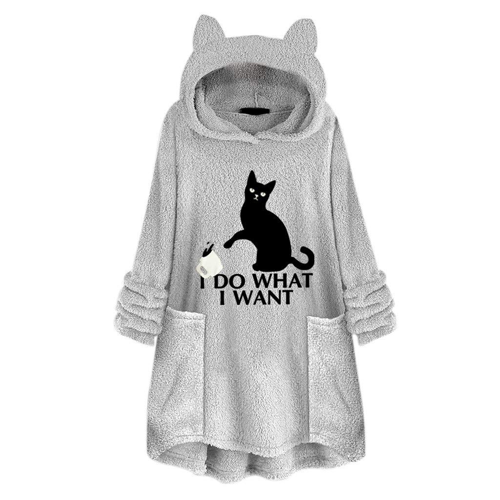 QIUUE Women Cat Ear Hoodies Sweater Fleece Embroidery Pullover Pocket Cute Hooded Sweatshirts Oversize Blouse Gray by QIUUE