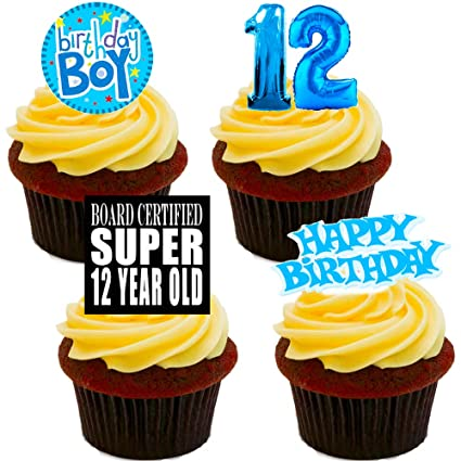 Made4You 12th Birthday Boy Edible Cupcake Toppers