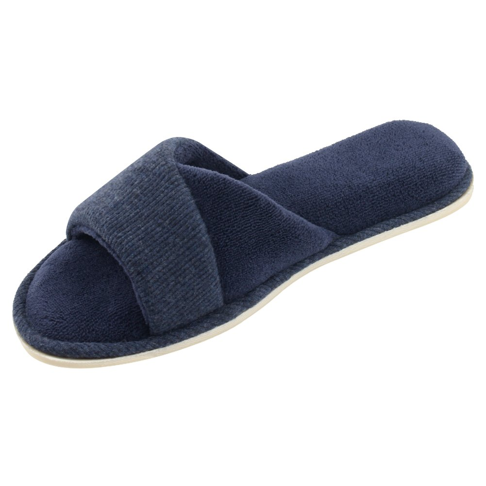 HomeIdeas Women's Open Toe Terrycloth Slide House Slippers with Comfy Velvet Lining Memory Foam Indoor Shoes