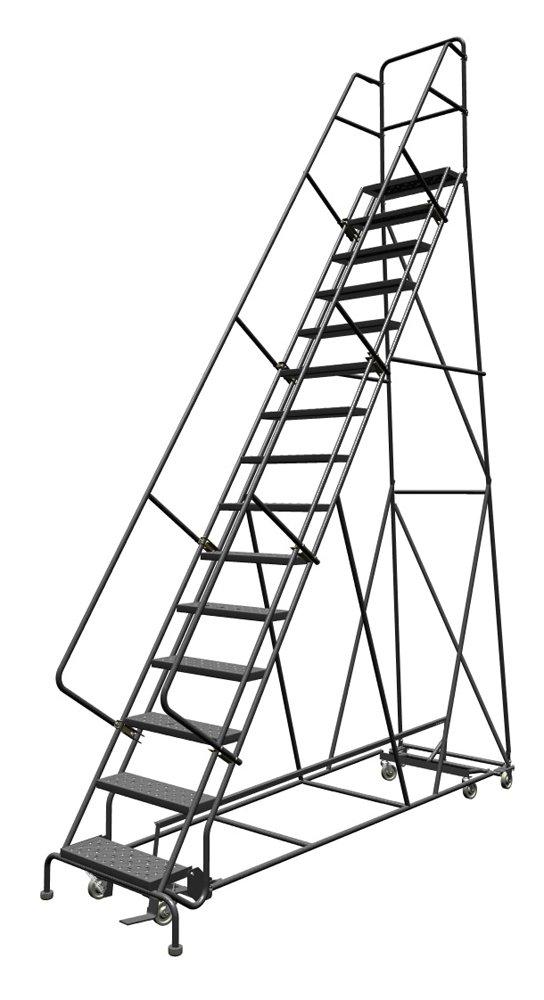 tri-arc All-directional en 6 ruedas de acero Industrial y almacén escalera con perforado banda de rodadura, 24