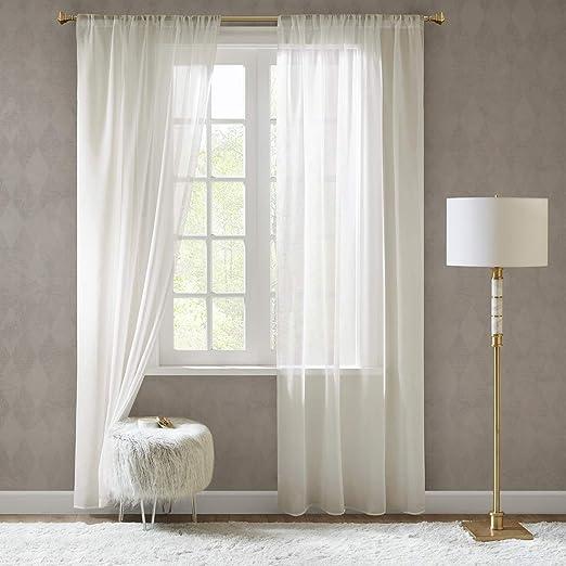 Gardinen Schals in Leinen-Optik Leinenstruktur Vorhänge Schlafzimmer Transparent Vorhang für große Fenster Doris Off White, l