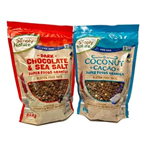 Simply Nature Super Foods Granola Combo Pack (Pack of 2 x 11 oz bags) Dark chocolate & sea salt and Coconut cacao flavors.