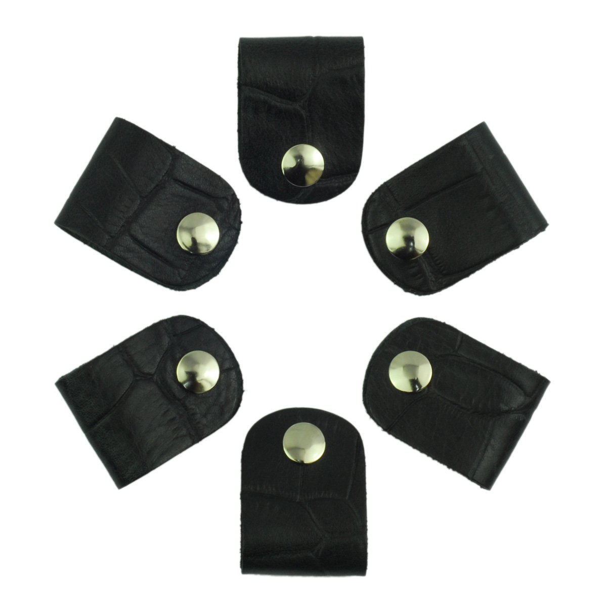 Leather Cord Orangizer Clips Set, 6 Snap Closed Pieces, Black