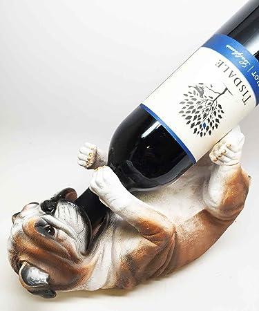 Kitchen Decor American Bulldog Dog Wine Bottle Holder Figurine Statue