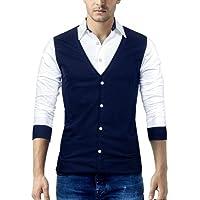 Seven Rocks Men's Cotton Waist Coat Style T-Shirt