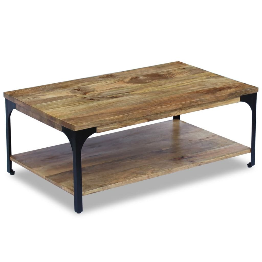 vidaXL Table basse pour salon Table d'appoint Bois de manguier 100 x 60 x 38 cm