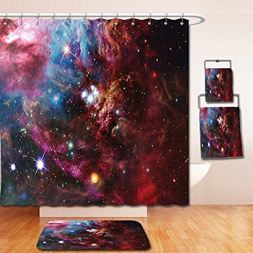 Nalahome Bath Suit: Showercurtain Bathrug Bathtowel Handtowel Space Decorations Collection Space Nebula with Star Cluster in the Cosmos Universe Galaxy Solar Celestial Zone Teal Red Pink by Nalahome