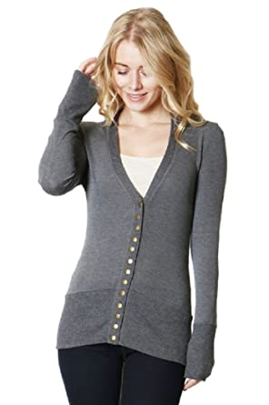 955791e304 Zenana Fashionable Snap Button Long Sleeve V Neck Cardigan with Ribbed  Detail