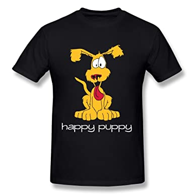 HM Mens T Shirt Happy Puppy Cartoon Animal Size XS Black