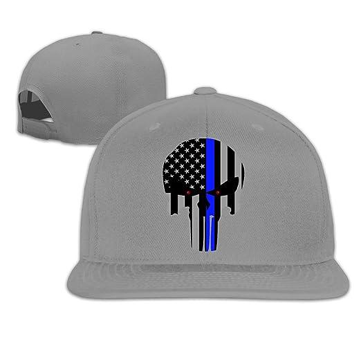 88e0fce3575 Thin Blue Line Punisher Embroidery Flat Bill Hats Ash Adjustable Baseball  Cap