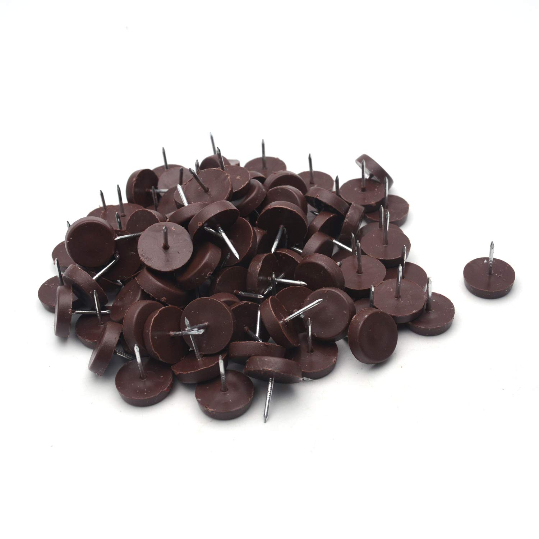 "Antrader 100-Pack Nylon Slider Glides Nail-on Furniture Table Chair Sofa Feet Leg 20 mm/ 3/4"" Diameter Skid Tile Floor Protector Pad Brown"