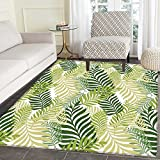 Leaves Mat Kid Carpet Tropical Exotic Palm Tree Leaves Natural Botanical Spring Summer Contemporary Graphic Home Decor Foor Carpe 3'x4' Green Ecru