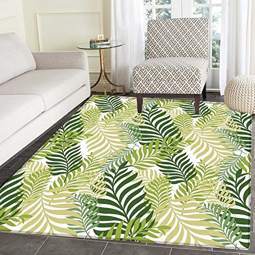 - Leaves Area Mat Carpet Tropical Exotic Palm Tree Leaves Natural Botanical Spring Summer Contemporary Graphic Living Dining Room Bedroom Hallway Office Carpet 3'x5' Green Ecru