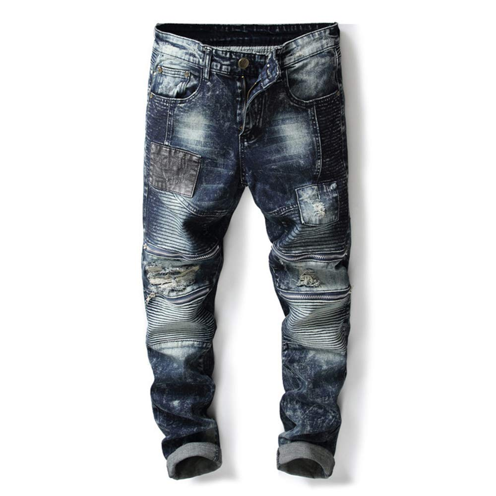 HitZoom Denim Mens Moto Ruched Ripped Holes Stretch Skinny Jeans