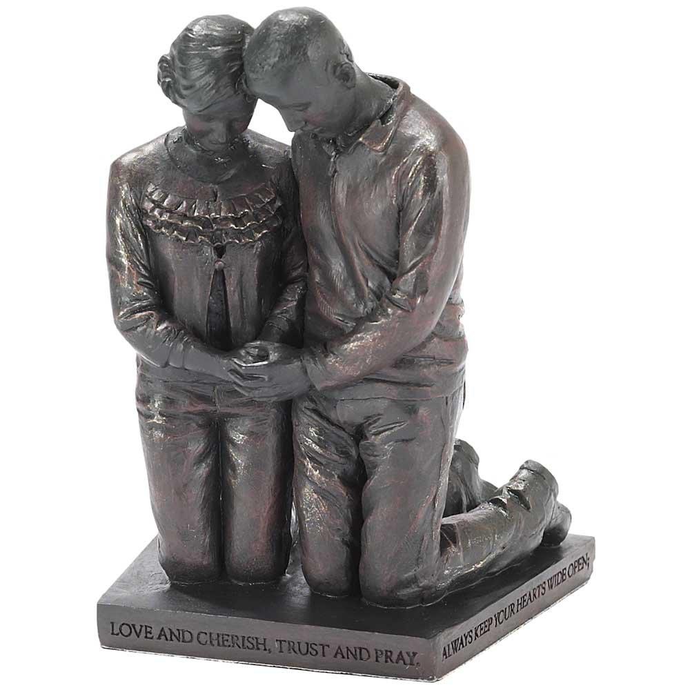 Dicksons Love Cherish Praying Husband Wife 5 inch Gray Resin Stone Table Figurine