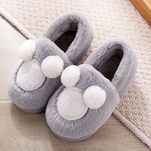 Y-Hui amantes de invierno zapatillas de algodón bolso con vello femenino Bola inferior suave, a prueba de deslizamiento inferior grueso Invierno Hombre Interior Inicio Grey child
