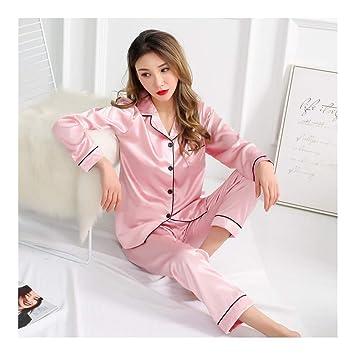 HAOLIEQUAN Traje De Pijama De Seda De Manga Larga para Mujer Verano Pijama De Otoño Establece