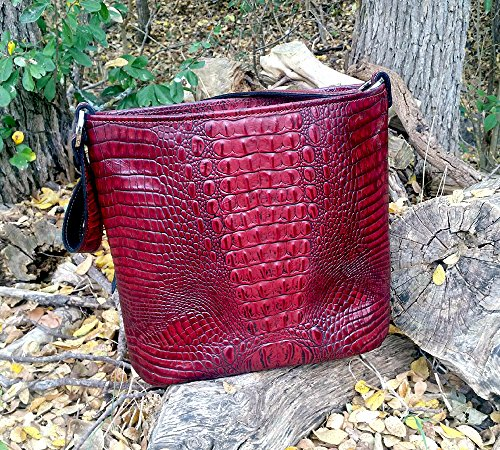 MoonStruck Leather Concealed Carry Purse - CCW Handbags Merlot Red Embossed Crocodile - Made in the USA - Classic by MoonStruckLeather